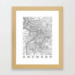Antwerp Map Line Framed Art Print