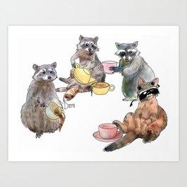 Racoon Tea Party Art Print