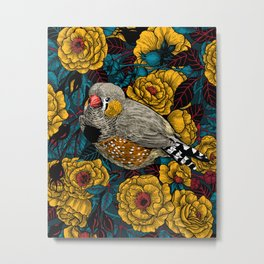 Zebra finch and rose bush Metal Print