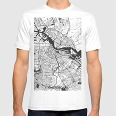 Amsterdam Map Gray X-LARGE White Mens Fitted Tee