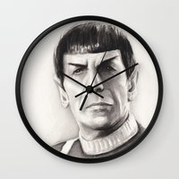 spock Wall Clocks featuring Spock by Olechka