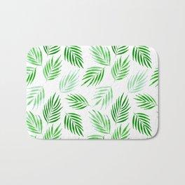 Tropical areca palms pattern in green Bath Mat