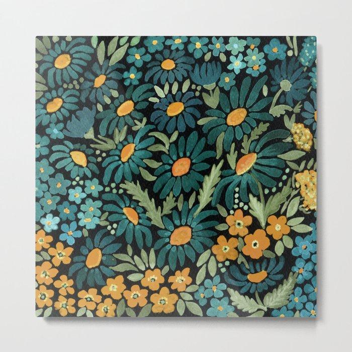 Watercolor . Chamomile field. 2 Metal Print