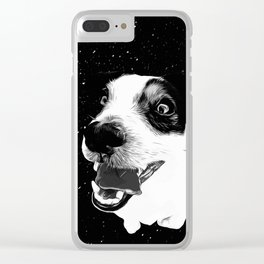 jack russell terrier dog space crazy va bw Clear iPhone Case