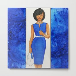 The Woman In Blue Metal Print