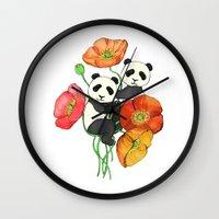 pandas Wall Clocks featuring Poppies & Pandas by micklyn
