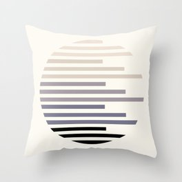 Mid Century, Modern, Minimalist, Circle, Round Photo, Grey, Staggered Stripe, Pattern Throw Pillow