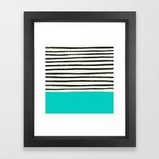Aqua & Stripes Framed Art Print