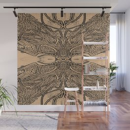 Lines Intra - Fine Line Work in Sepia and Black and Grey Wall Mural