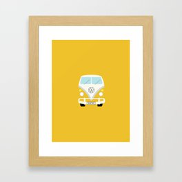 Surf's Up Minimal Yellow Bus Framed Art Print