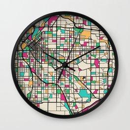 Colorful City Maps: Denver, Colorado Wall Clock