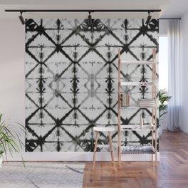 B&W Shibori Grid Wall Mural