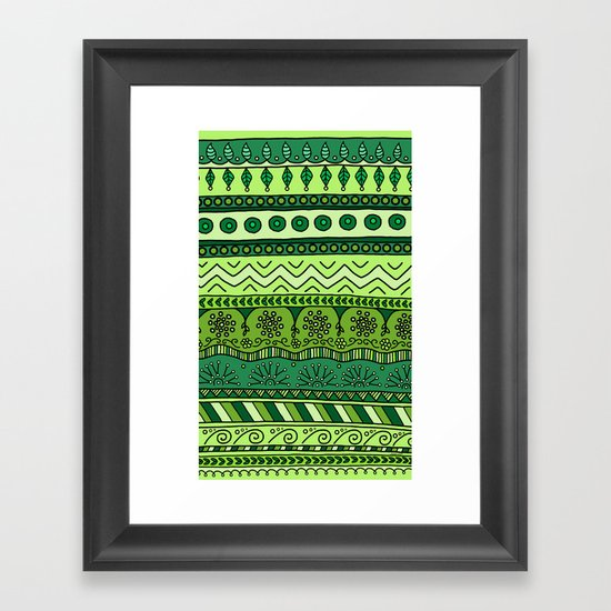 Yzor pattern 003 green Framed Art Print