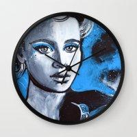 jenna kutcher Wall Clocks featuring Jenna by McLean - Art & Design
