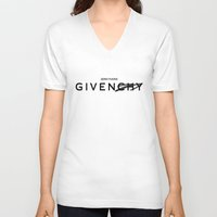 givenchy V-neck T-shirts featuring Zero Fucks GIVEN/CHY by saratonin5