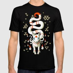 Long Tail Fox LARGE Black Mens Fitted Tee