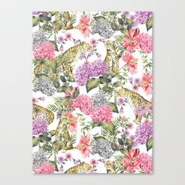 Leopards in flowery garden Canvas Print