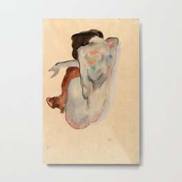 Egon Schiele - Crouching Nude in Shoes and Black Stockings, Back View Metal Print