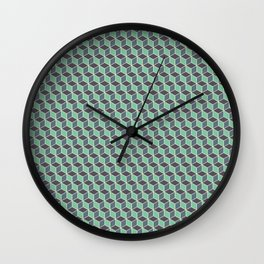 Pistachio Grey Seamless Cube Pattern Wall Clock