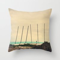 boats Throw Pillows featuring Boats by Kiera Wilson