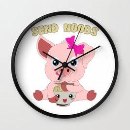 Send Noods Pig Kawaii Ramen Noodle Lover Wall Clock