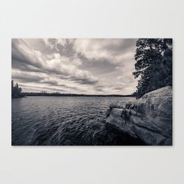 Black and White Boundary Waters Lake Canvas Print