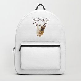 Deer dog woof Christmas childrens brown white decor quotes society6 comic Backpack
