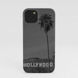 Hollywood Sign, Los Angeles, California black and white photograph / black and white photography iPhone Case
