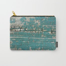 Rustic Wood Turquiose Paint Weathered Carry-All Pouch