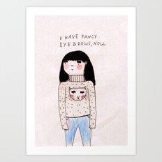 big shirt, big eyebrows Art Print