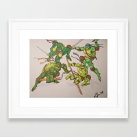 tmnt Framed Art Prints featuring TMNT by Brittany Ketcham