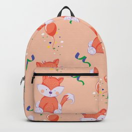 Happy Birthday Orange Fox on Orange Background Pattern Backpack