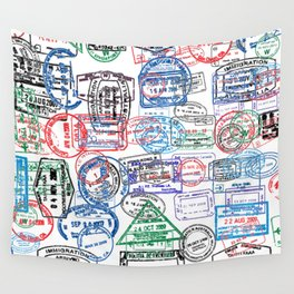Passport Stamps Wall Tapestry