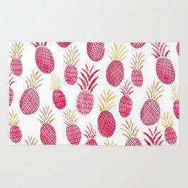 Pink Pineapple Watercolor Rug