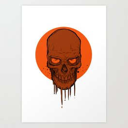 Skull in Red Art Print
