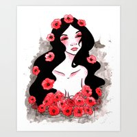 Poppy Tears Watercolor Painting by Grimmiechan Art Print