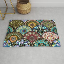 Colorful floral seamless pattern from circles with mandala in patchwork boho chic style Rug