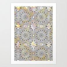 Grey Marble Stars Art Print