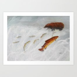 La remontée du saumon Art Print