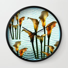 Blue Swamp Calla Lilies Wall Clock