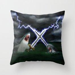 Shark vs. Narwhal  Throw Pillow