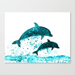 Dolphins, navy blue Canvas Print