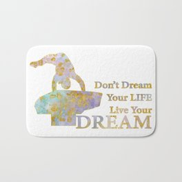 Live Your Dream Gymnastics Design in Watercolor and Gold Bath Mat
