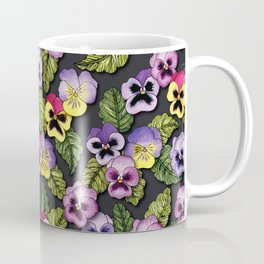 Purple, Red & Yellow Pansies With Green Leaves - Floral/Botanical Pattern Coffee Mug