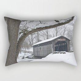 Fallasburg Covered Bridge in Winter Rectangular Pillow