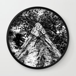 Squirrel View // Climbing Tall Tree Trunks // Winter Landscape Snowy Decor Photography Wall Clock