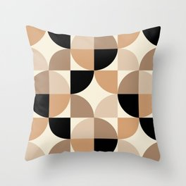 Mid Century Modern Geometric Pattern 439 Black Brown Tan and Beige Throw Pillow