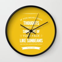 roald dahl Wall Clocks featuring Roald Dahl quote - Yellow by Dickens ink.