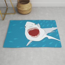 Shark Attack Underwater With Fish Swimming In The Background Rug