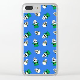 St. Paddy's Day Skulls on blue Clear iPhone Case